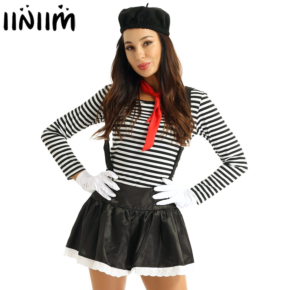 6Pcs Women Adults Mime Costume French Artist Clown Circus Fancy Dress Striped Top Black Skirt With Beret Red Scarf Suspender