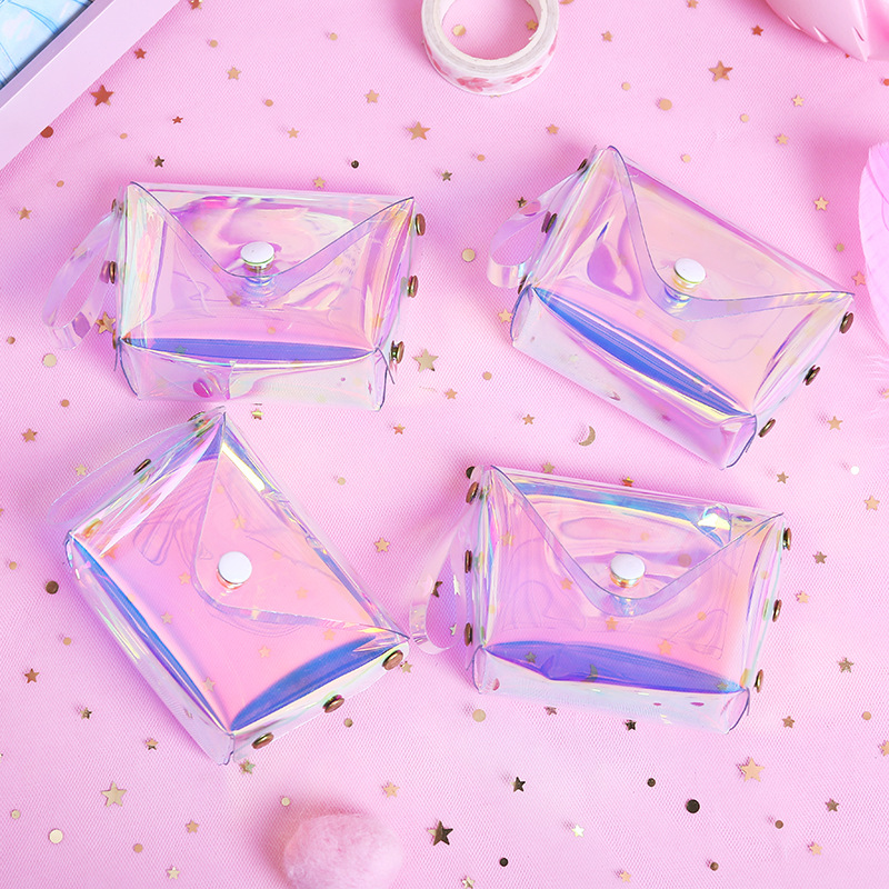 1414 Online Celebrity Jelly Purse INS GIRL'S Heart Transparent Laser Purse Korean-style Square Cable Package Women's