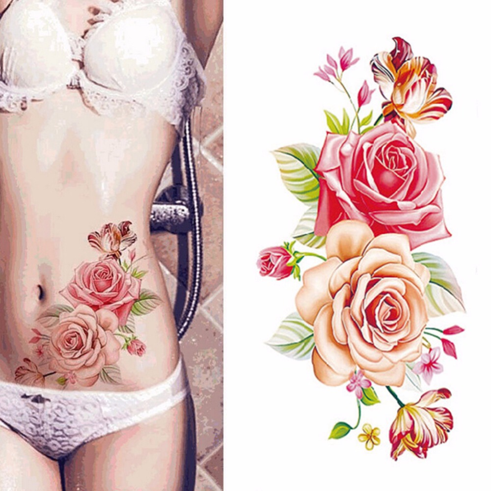 Rose Flowers Waterproof Sexy Lady Women Big Flower Temporary Tattoos Stickers Arm Shoulder Tattoo On Body Art