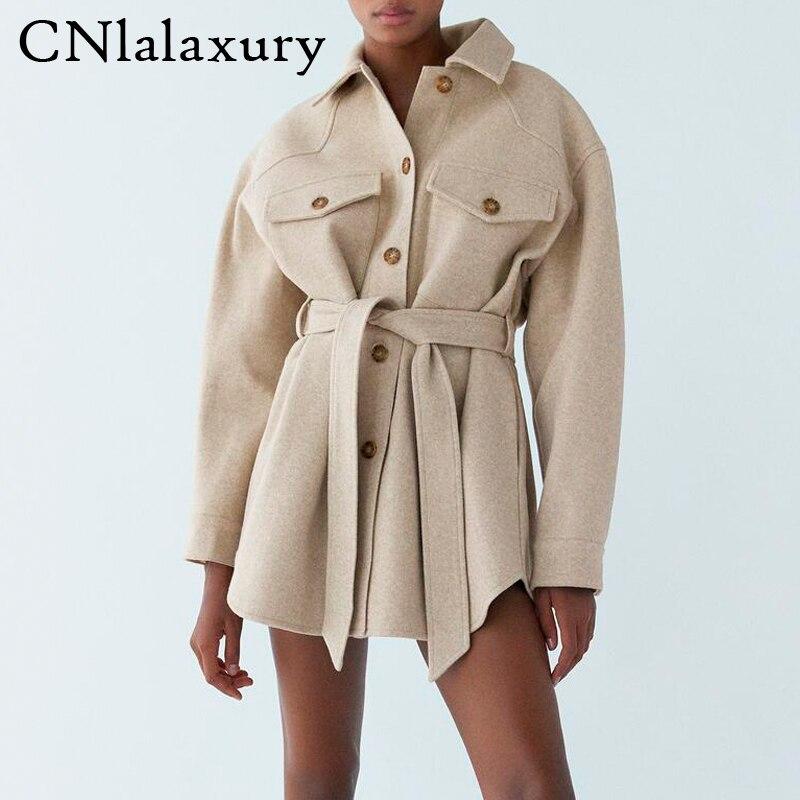 Женское шерстяное пальто с длинным рукавом, Осеннее повседневное элегантное пальто с поясом, однобортное пальто, верхняя одежда для женщин|Куртки|   | АлиЭкспресс