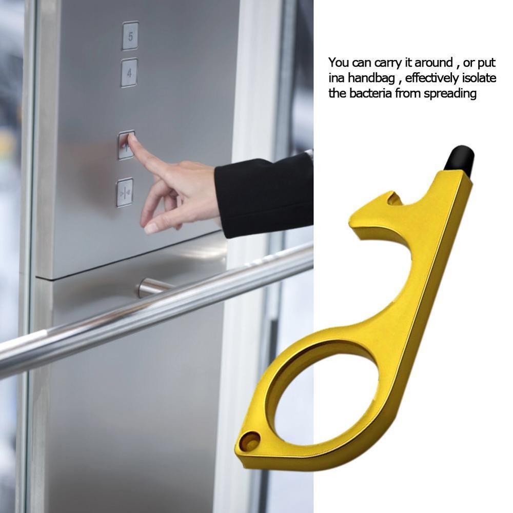 Портативная гигиеническая латунная ручная чистка без прикосновения к двери, инструмент для закрывания кнопки лифта, многофункциональное о...