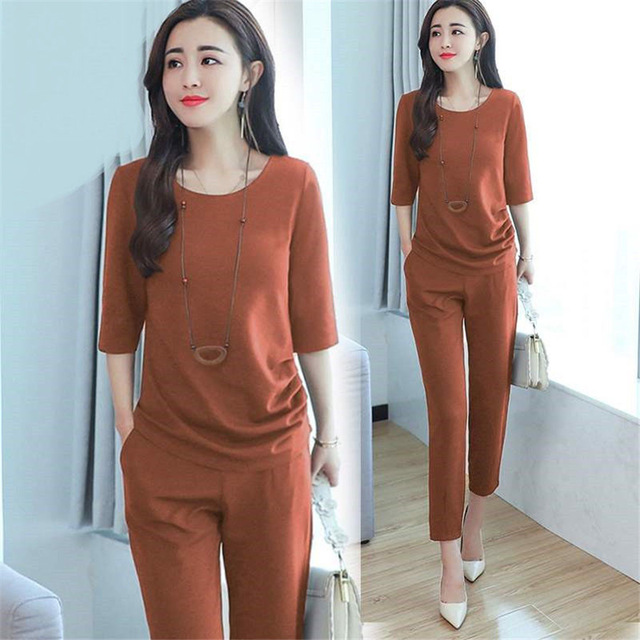 Women's Summer Tracksuits 2019 Casual 2Pcs Short Sleeve O-neck Tops+Cropped Trousers Ladies Lounge Sports Suits
