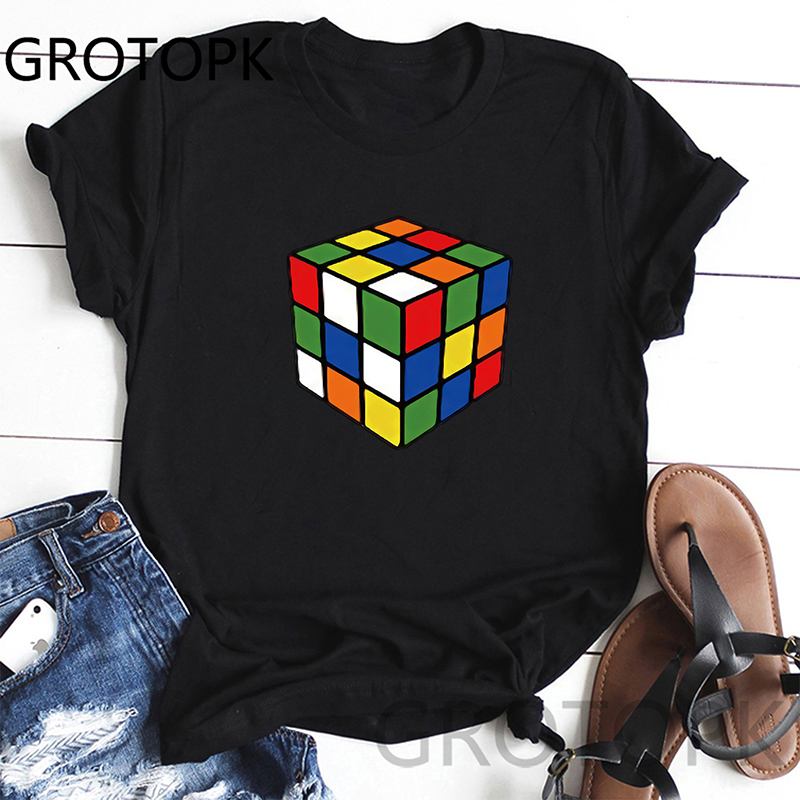 Examples Of Cube Women T-Shirts Classical Short Sleeve O-Neck Basic Tshirt Casual Fitness Women Bottoming Shirt