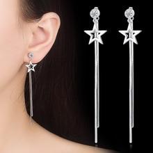 Fashion Jewelry Simple Gold Silver Color Star Earrings for Women Tassel Dangle Earrings drop earrings gold color with green gray pink tassel drop earrings