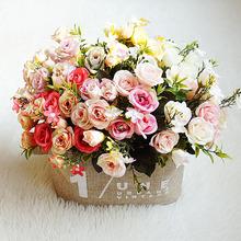 13 głów sztuczne kwiaty biały sąd bukiet róż jedwabne róże różowy ślub dekoracja domu sztuczne rośliny kwiat tanie tanio 1 pc Pulpit Jedwabiu Oddział Flower Bouquet Wedding Party Home Decoration Christmas 28cm