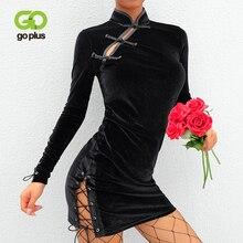 GOPLUS Fall Womens Dress Chinese Style Bodycon Dresses Party Sexy Mandarin Collar Velvet Mini Vestidos De Verano Sukienki