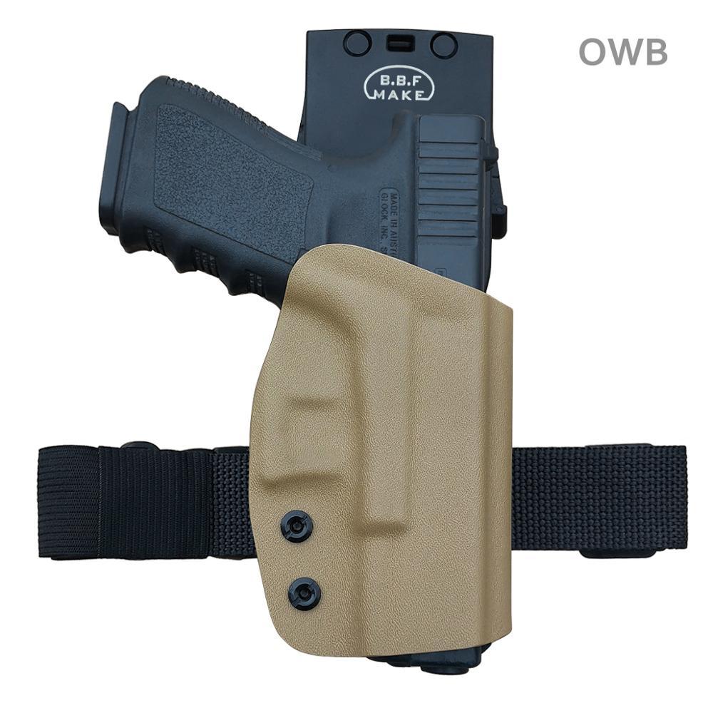 BBF Make KYDEX OWB Holster For Glock 19 19x 23 32 17 22 3125 26 27 33 CZ P10 Gun Holster Belt Outside Carry Pistol Case Pouch
