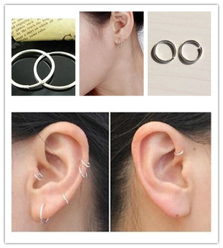 1 Pair Fashion Jewelry Unique Small Thin Endless Earrings 10mm Multi-purpose Round Nose Lips Ring Women image