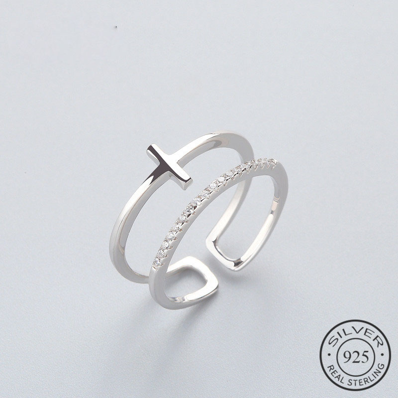 OL Geometric BRidal Cross Personality Ring 925 Sterling Silver For Women Birthday Party Fine jewelry New 2018 Accessories