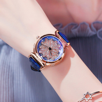 Women Luxury Diamond Rotation Watch Ladies Watches Leather StrapTrend Fashion Brand Blue Casual Wristwatch