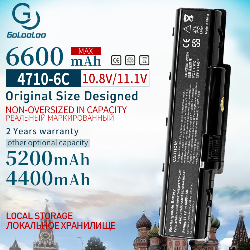 Golooloo 6Cells New Laptop Battery For Acer AS07A31 AS07A32 AS07A41 AS07A42 AS07A51 AS07A52 AS07A71 AS2007A MS2219 2930 4530