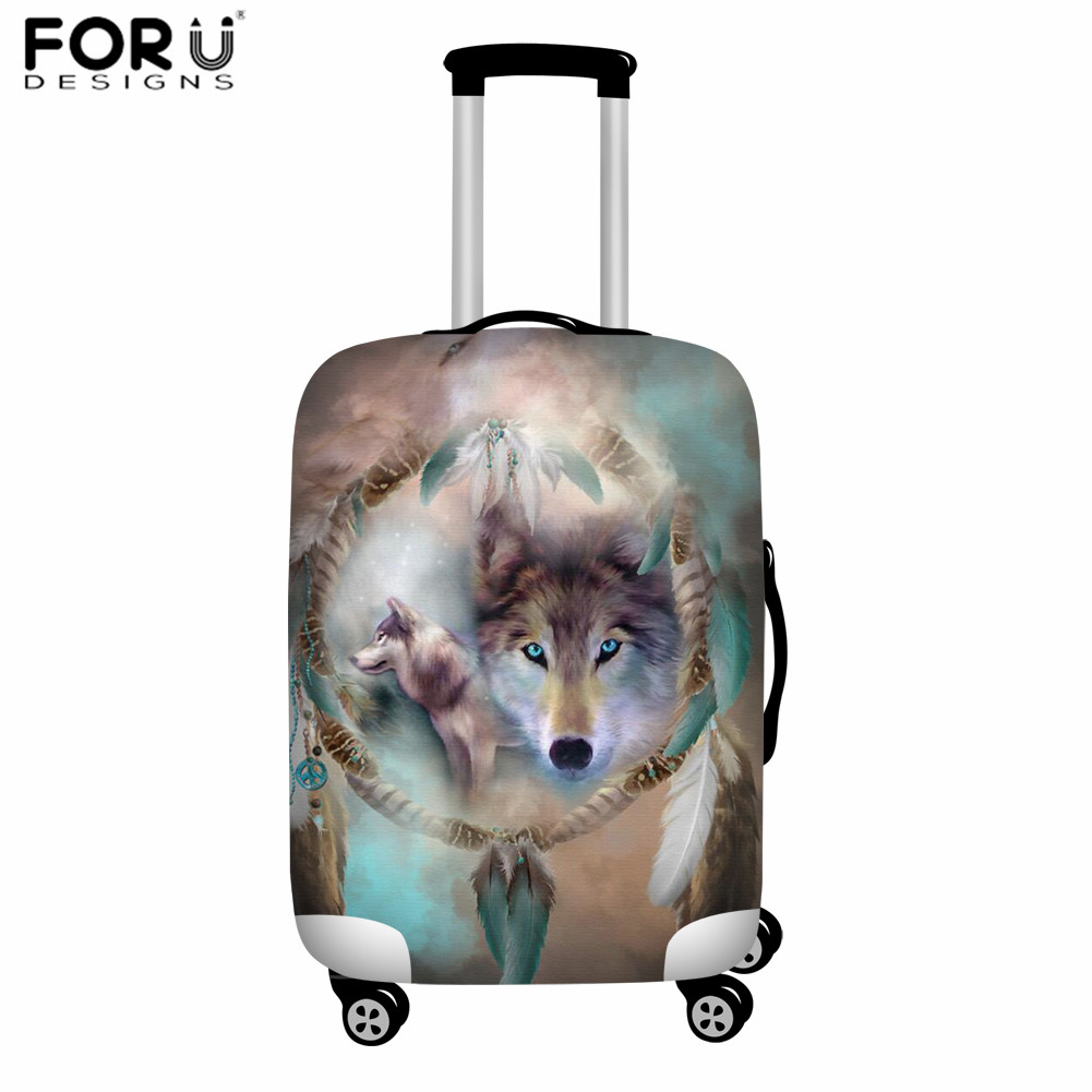 FORUDESIGNS Thicker Luggage Protective Cover,Wolf Suitcase Case Travel Accessorie, Elastic Baggage Case Cover,Apply To 18-32inch