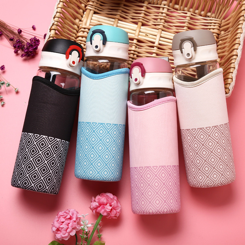 400/500ml Brief Glass Water Bottle for Women Outdoor Portable Students Girl Drink Bottle with Insulation Bag Sport Kettles image
