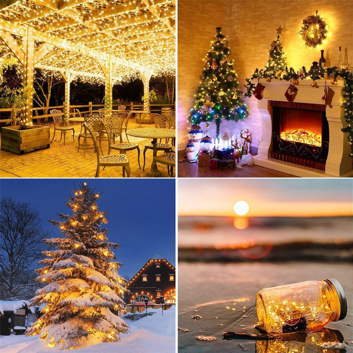 12m/22m Christmas Garland Led Fairy Light Outdoor Solar Powered String Lights 2 Mode Garden Wedding Decoration Waterproof Lights