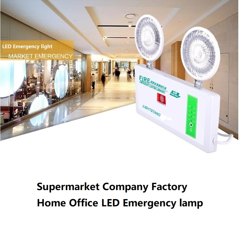 LED Double Heads Fire Emergency Light Over 90 Minutes Emergency Lighting For Supermarket Office Factory