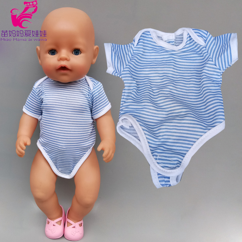 Doll Clothes 40cm 43cm Baby Doll Boy Rompers Dark Blue Pajama Children Girl Toys Outfits