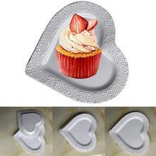 В форме сердца одноразовые тарелки вечерние свадебные(3 шт) День рождения Белый Кемпинг посуда