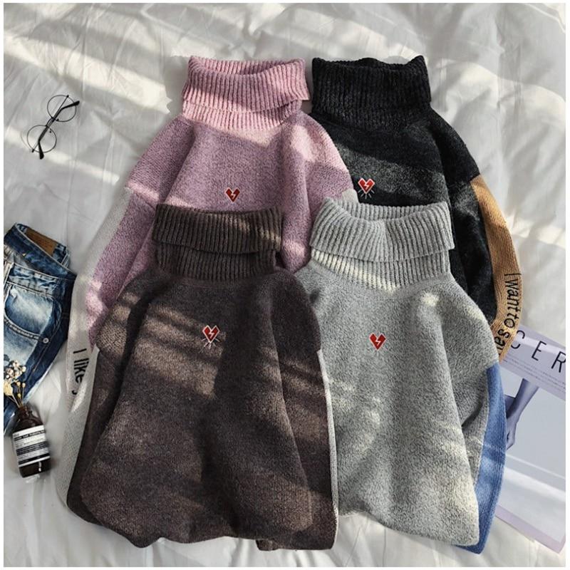 2019 Autumn Winter New Turtleneck Men Sweater Letter Print Korean Mens Woolen Sweaters Trend Couples Warm Knit Pullover YT50154