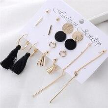 8 Pairs/set Fashion Tassel Round Stud Earrings Set for Women Trendy Mixed Black Acrylic Statement Korean Long Sets