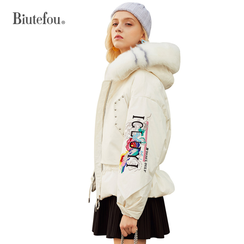 2019 Winter Adjustable Waist Slim Down Jackets Fashion Embroidery Women Thick Hooded Jackets