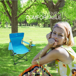 Image 3 - Outdoor Camping Fishing Chairs Oxford Cloth Folding Portable Arm Chair Patio Fish Camping set With Cup Holder Carry Bag Sandalye