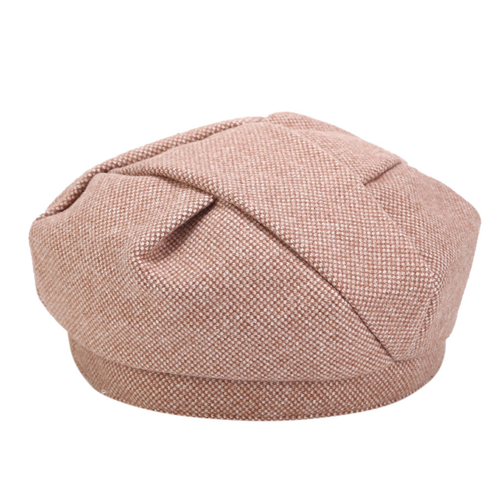 SAGACE New Listing Ladie Leopard Rabbit Fur Beret Painter Hat Box Unique Design Woolen Retro Pumpkin Hat Light Wind Good Looking