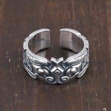 S925 Silver Men's Ring Retro Gluttonous Beast Personality Opening Adjustable Thai Silver Ring