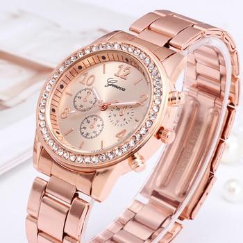 Relógio para mulheres de luxo moda genebra strass aço inoxidável falso três olhos quartzo feminino relógio presente para senhora relógio feminino 1