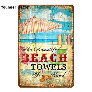 Посещение солнечного пляжа знаки Sal прибой волны серфинг Металл живопись плакат стены стикеры художественная пластина бар кафе Паб украшения дома YI-091