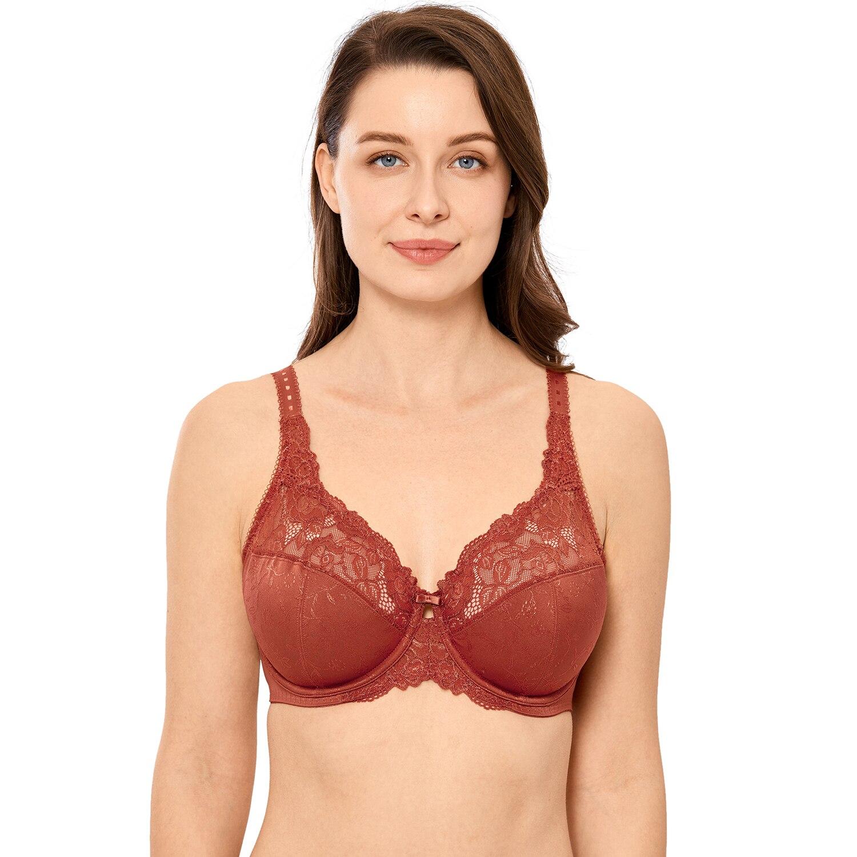 New Women's Full Coverage Minimizer Jacquard Non Padded Lace Sheer Bra