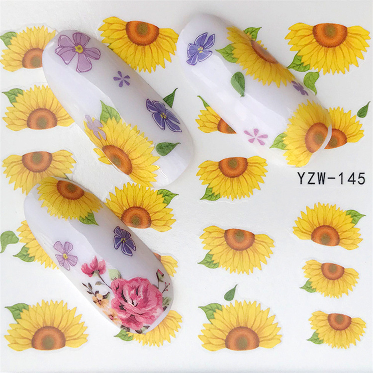 Nail Sticker Yzw143 Flower Water Transfer Nail Sticker Environmentally Friendly Breathable Nail Sticker