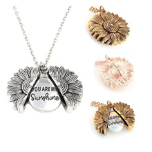 ZWPON Fashion Sunflower Double-layer Metal Pendant Necklace for Woman Engrave Letter Disc you are my sunshine