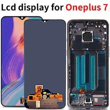 Amoled lcd Oneplus 7 LCD ekran dokunmatik ekranlı sayısallaştırıcı grup için yedek Oneplus7 lcd