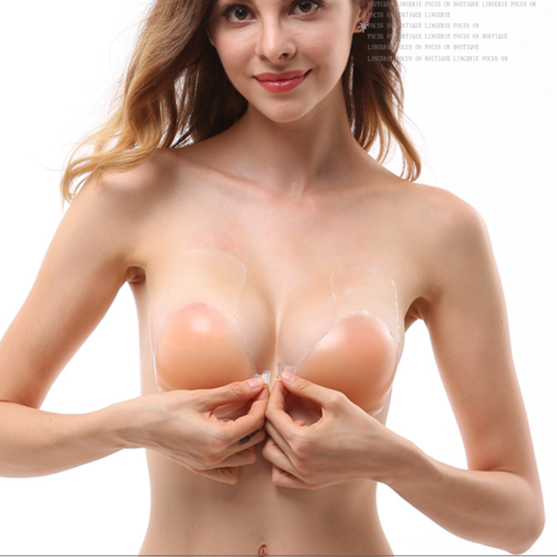 2021 Front Buckle Silicone Chest Stickers for Women Strapless Silicone Self-Adhesive Invisible Gathering Enhance Breathable Bra