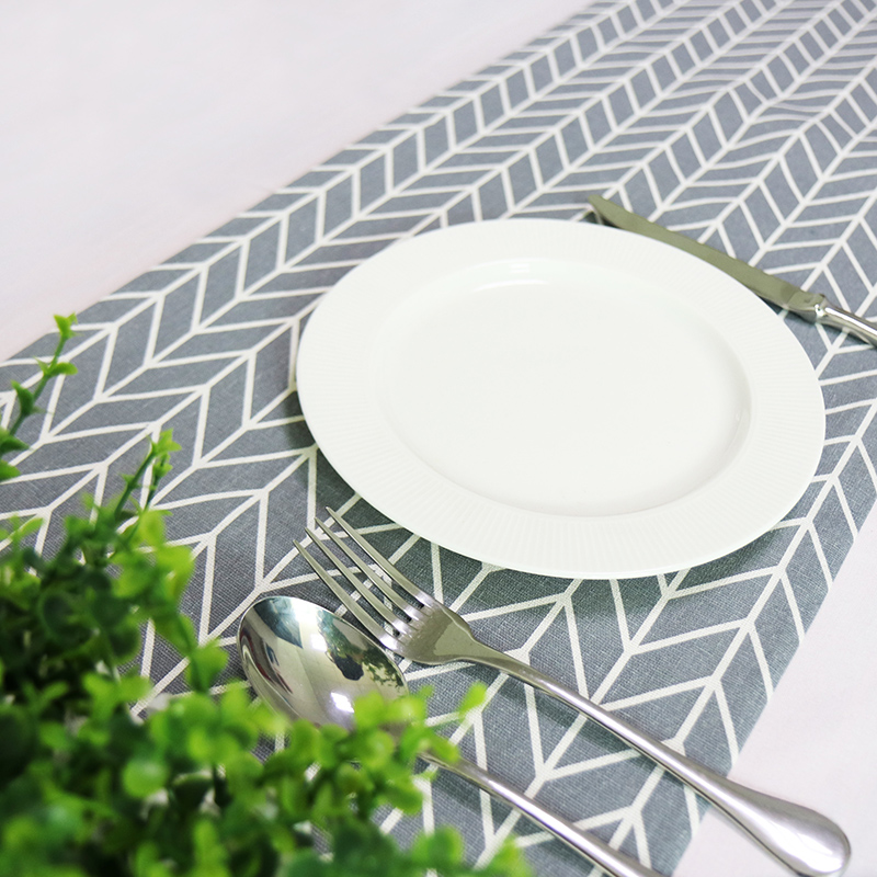 Cotton And Linen Table Runners Modern Gray And White Geometric Pattern Table Cloth Runner For Party Wedding Decor Crafts