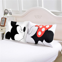 Disney Mickey Minnie Mouse 3D Pillowcases Black White Red 2pcs Set Couple Lover Gift Mr Mrs