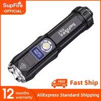 SupFire-linterna led F15-T Cree XHP90 de 36W, Ultra brillante, con pantalla, Zoom, recargable por USB, multifunción, para acampar y pescar