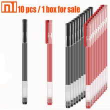 מקורי xiaomi עט 10 pcs / 1 קופסא שחור ואדום חלק כתיבה תלמיד משרד עט מורה רופא mi עט יפני דיו/0.5mm