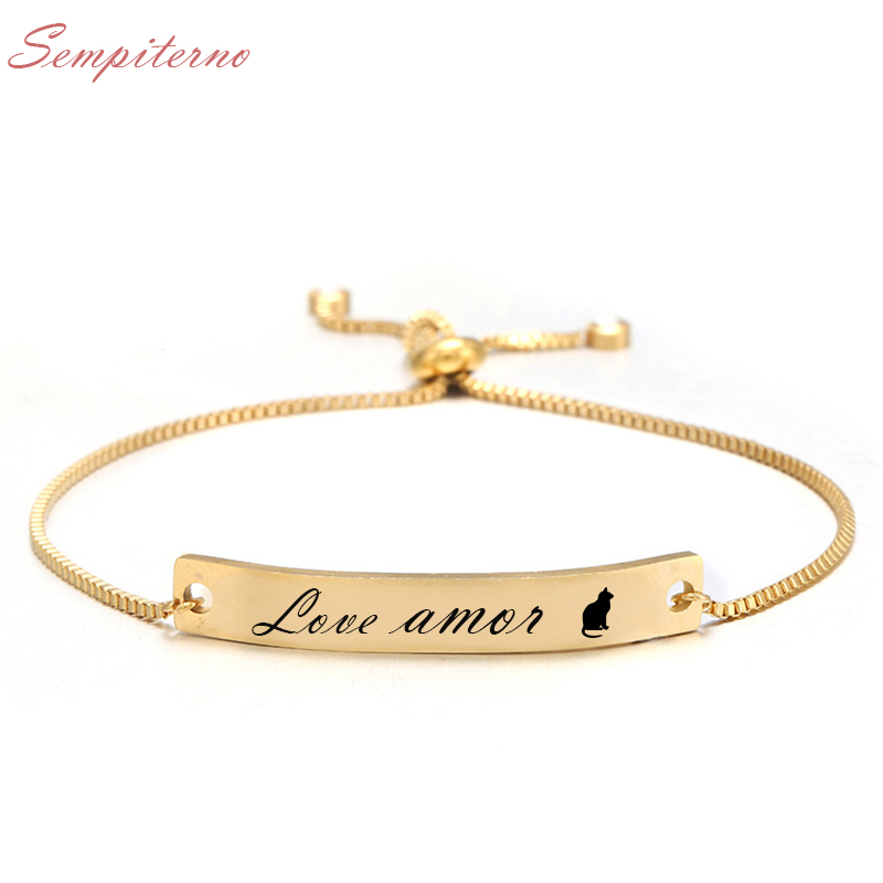 DIY Name Custom Bracelets Initial Personalized Stainless Steel Engraved Handwriting Charms Bracelet & Bangle Jewelry