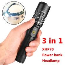 Светодиодный фонарик cree xhp70 usb зарядка стрейч зум ударопрочный внешний аккумулятор 18650 перезаряжаемый фонарик