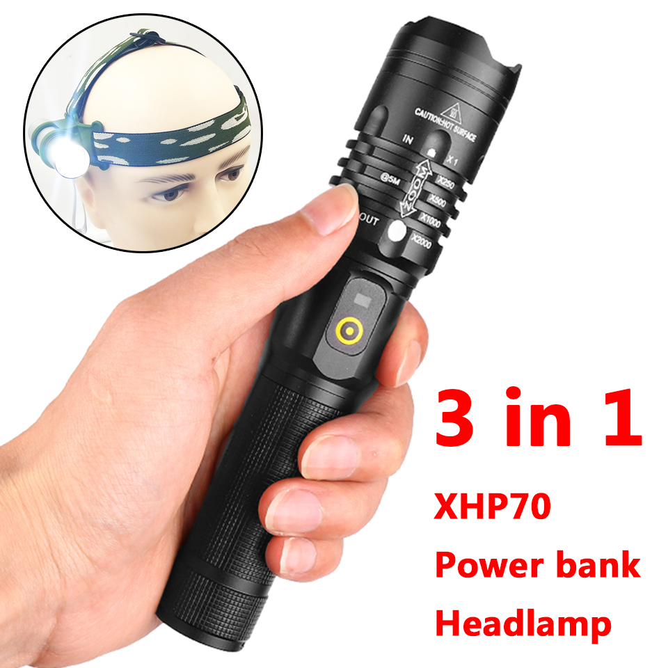 led flashlight cree xhp70 usb charging Stretch zoom Shock Resistant power bank 18650 rechargeable flashlight torch(China)