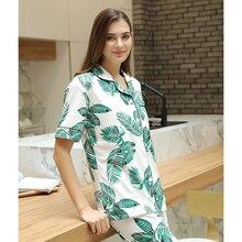 FINETOO Print Leaf Pajamas Sets Turn down Collar Sleepwear Women Clothes Autumn Mujer Short Sleeve Long Pants Cotton Pajamas New