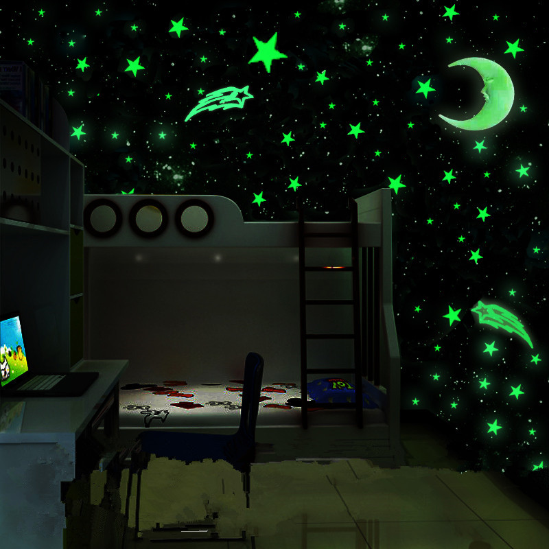 100pcs/set Night Luminous Star Moon Stickers Plastic Light Up Glow In The Dark Toys Wall For Baby Glow In The Dark Toys