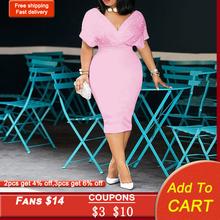 Бисероплетение Леди Русалка Платье 2020 Африканский Женщины Розовый Миди Платья 3xl Халат Femme Vestiods +Элегантный Офис Леди +Коктейль Платье