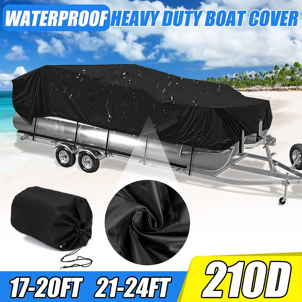 17-20Ft 21-24Ft 210D Heavy Duty Waterproof Boat Cover Fish Ski Beam 96'' Boats Sunproof UV Protector Covers
