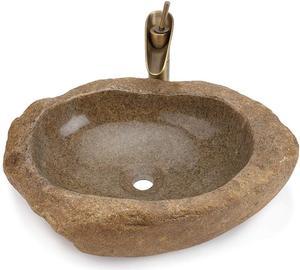 Натуральный булыжник умывальник ручная точеная ванная раковина (коричневый)