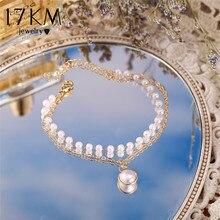 17km moda multi-camada pérola pingente pulseira para as mulheres bonito ouro prata cor corrente pulseiras kpop jóias presente da menina