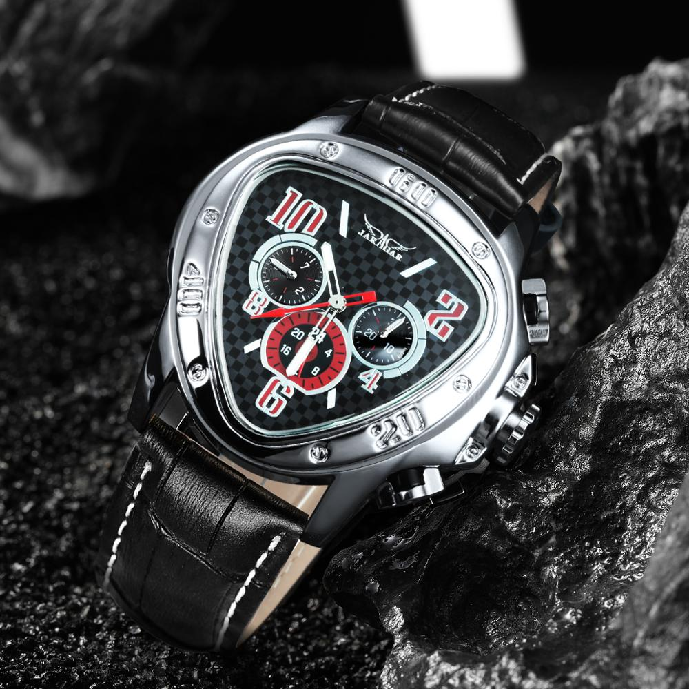 JARAGAR Men Automatic Watch Mechanical Wrist Watch Leisure Sport Car Race Pilot Big Case Top Luxury Brand Triangle Reloj Hombre