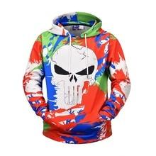 Unisex Skull Mens Hoodie Sweatshirt 3D Print Harajuku Streetwear 2019 Autumn Casual Color Block Pullover Hip Hop Tops