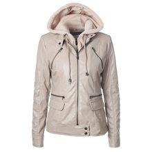 Beige Genuine Leather Pockets Hooded woman jacket autumn winter 2019 Long Sleeve Zipper coat women chaqueta vaquera mujer(China)